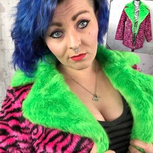 * Pink Green Zebra Faux Fur Jacket * Zip Coat RARE